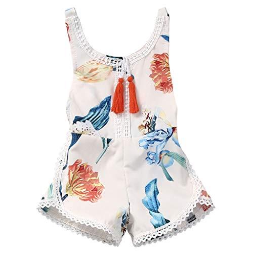 Jimmackey neonata senza maniche pagliaccetto pizzo nappa tutine body, da 0 a 4 anni bebè
