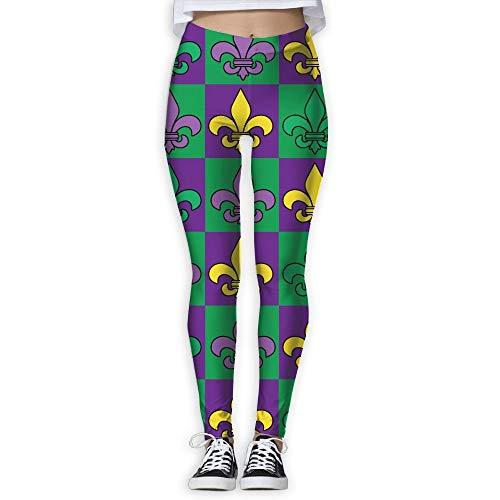 QIAOJIE-High Waist Ultra Soft Lightweight Leggings, Mardi Gras Fleur-de-lis Pattern Women's Stretchable Sports Running Yoga Workout Leggings Pants