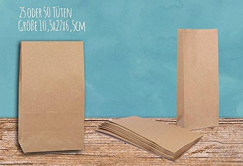25Sac à fond Bloc Sacs cadeaux sacs sacs papier Marron 10,5x 27,0x 6,5cm Papier Kraft Sacs plastiques Force papie Aspirateurs filtrants pour calendrier de l'avent, cadeaux ou surprises à remplir