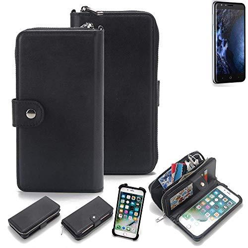 K-S-Trade 2in1 Handyhülle für Doogee Y6 4G Schutzhülle & Portemonnee Schutzhülle Tasche Handytasche Case Etui Geldbörse Wallet Bookstyle Hülle schwarz (1x)