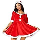 Longra Abito da Festa di Natale da Donna con Cintura Cappello + Mantello + Guanti Rosso Cosplay Costume Carnevale Partito Vestito Costume di Babbo Natale Miss Natale Mini Abito Rosso Bianco