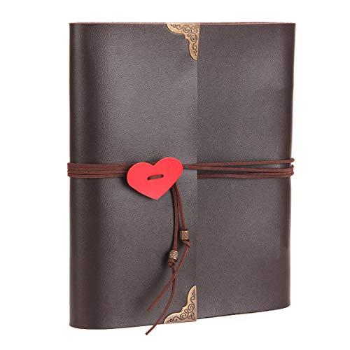 Thxmadam scrapbooking foto album retrò pelle memoria libro degli ospiti di nozze con 60 pagine nere per san valentino giorno anniversario compleanno natale regalo per donna uomo ragazzaamico