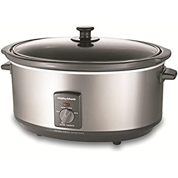 Morphy Richards 48718 Oval Slow Cooker, 6.5 Litre, Silver