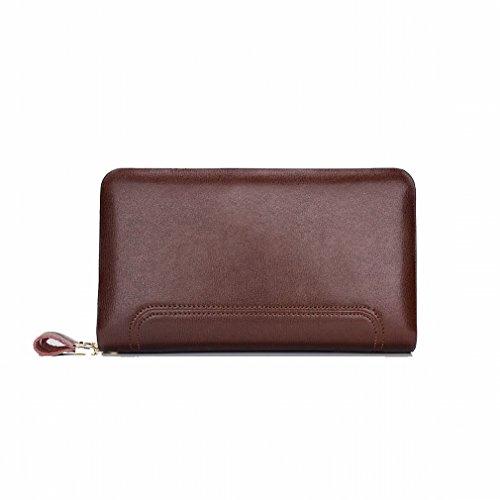 Zip-beutel Brieftasche (Q package Geschäftsmänner 'S Handtasche Große Kapazität Doppelte Reißverschluss Lange Brieftasche Art und Weise Beiläufige Männer 'S Beutel,Braun)