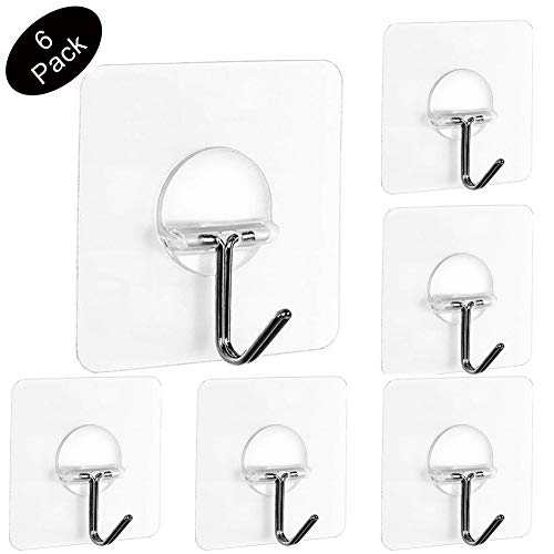 Adhesive Wall Hooks 17 6lb/8kg (Max), Bathroom Kitchen transparente  Reusable Seamless Scratch Wall Hooks for Towel Loofah Bath Robe Coats  Ceiling