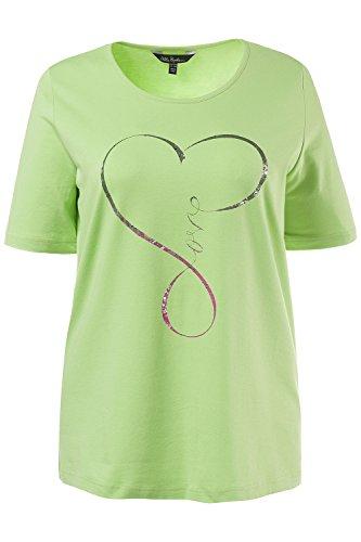 Ulla Popken Damen große Größen bis 62+ | T-Shirt | Rundhals, Halbarm | Schriftzug, Print, Glitzer, Material-Mix | hellgrün, grün | 711932 Apfelgrün