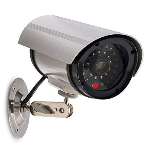 kwmobile Kamera Dummy Überwachungskamera Attrappe - Fake Camera mit Rotem LED Licht - täuschend Echt für Wand Decke - nötig 2xAA Batterie