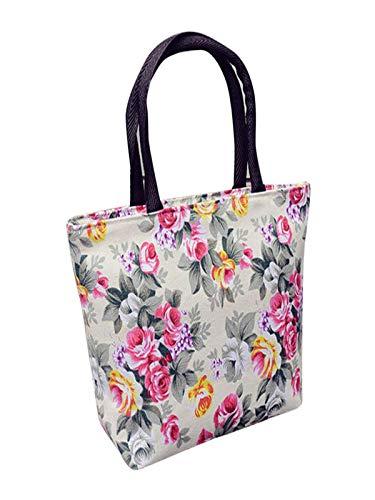 MOIKA Damen Handtasche, Damen Mädchen Blumendruck Reißverschluss Leinwand Frühling Tour Camping Wandern Einkaufen Schulter Durable Tote Shopper Tasche 20 cm (L) * 20 cm (H) * 8 cm (W)