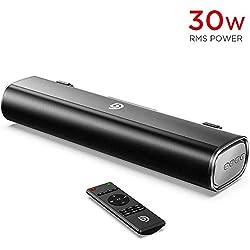 BOMAKER Mini Barre de Son 16-inch Sound Bar 30W RMS avec entrée Bluetooth 5.0, câble Optique, AUX ou USB pour TV, PC, Ordinateur, Téléphone Portable, Videoprojecteur, PS4, Xbox - Tapio I
