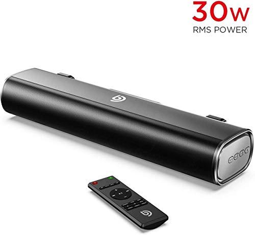 Mini Soundbar 2.0 30W RMS BOMAKER PC Lautsprecher Bluetooth 5.0 16 Zoll mit Optische,USB,AUX Anschlüsse für TV,Computer, Laptop, Handy-Schwarz