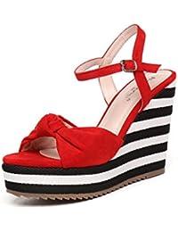 Red Shoes Verano Blanco Y Negro Rayas Pendiente Con Impermeable Taiwán De Arco De Tejer ( Color : Rojo , Tamaño : 31 )
