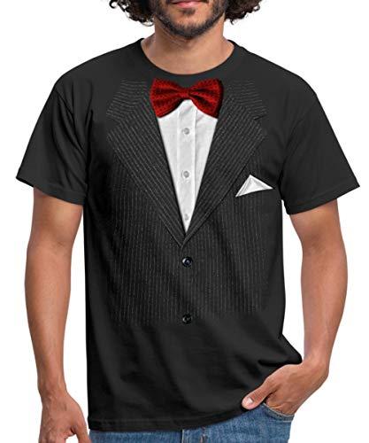 Spreadshirt Falscher Anzug Mit Fliege Scherz Männer T-Shirt, L, Schwarz