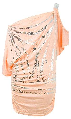 Fast Fashion Frauen Oben Schulter Auf Folien Print Slouch Batwing Dehnbar Nackt