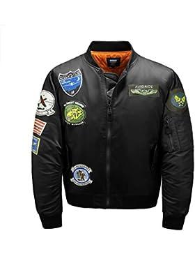 AVIDACE clásico bombardero chaqueta de los hombres acolchado de nylon con parches