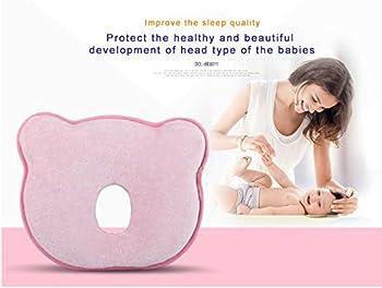 Baby-memory-schaumstoff-kissen, Romanstii Weich Waschbar Baumwolle Säuglinggs Kopf Unterstützung Verhindert Flachen Kopf Für 0-18 Monate Baby Neugeborene (10.24 '' X 8.76 '' X 1.38 '', Rosa) 2