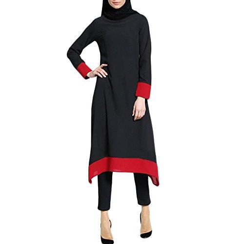 Muslimische Spleißen Langarm Kleid Tunika Islamische Kleidung Summerkleid Muslim Frauen Abendkleid...