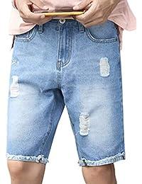 7acaced32daab Targogo Jeans Pantalons Homme Détruit Trou Longueur Pantalon Denim Slim Fit  Genou Jeans Courts Summer Vintage