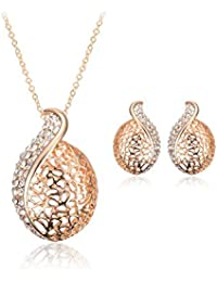 Generic Punk Hollow Leaf Gold Plated Rhinestone Necklace Earrings Jewelry Set Gold