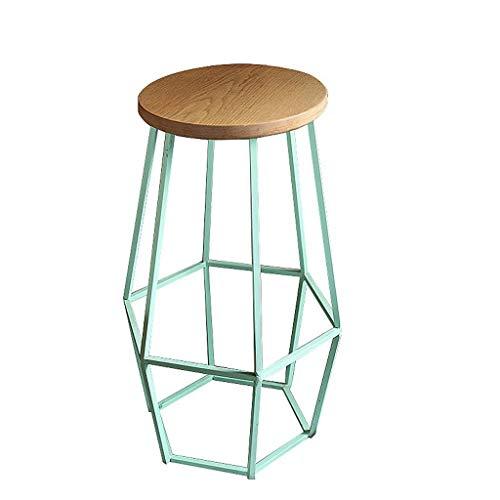 Qjifangyizi Hoher Hocker, Retro Runde Holz Sitz Metall Kreative Hocker Bein Bar Cafe Küche Frühstück Stuhl, Höhe 45 cm / 65 cm / 75 cm (größe : H:45CM) - Zähler Höhe Stühle Hocker