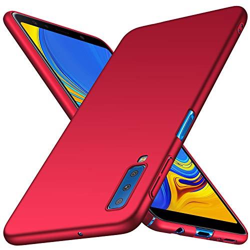Arkour Galaxy A7 2018 Hülle, Minimalistisch Ultradünne Leichte Slim Fit Handyhülle mit Glattes Matte Oberfläche Hard Case für Samsung Galaxy A7 2018 (Glattes Rot) Rot Hard Case