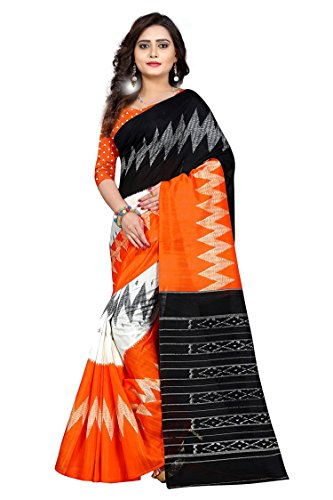 Jaanvi Fashion Women's Bhagalpuri Silk Ikkat Patola Print Saree (Orange)