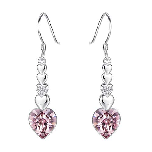 Clearine orecchini donna-argento figura 8 amore cuore gancio ciondolare orecchini adornato con swarovski cristallo vintage rose