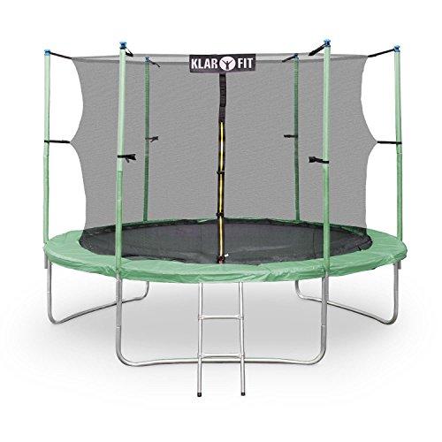 Klarfit Rocketstar 305 Trampolin Gartentrampolin (305 cm Durchmesser, Sicherheitsnetz, Abdeckbaube, bis max. 150 kg belastbar, Stangen gepolstert, Schaumstoff Abdeckung) grün