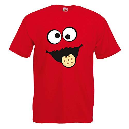Panda Red Kostüm - Shirt-Panda Herren Unisex T-Shirt Keksmonster Krümelmonster Gruppen Kostüm Karneval Fasching Verkleidung Party JGA Red 2XL