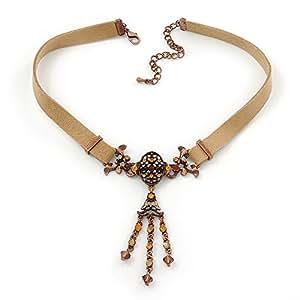 Collier tour de cou diamante style daim marron clair victorien en ton métal bronze - longueur 34cm/extension 7cm