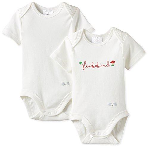 """Twins Unisex Baby - Body Kurzarm """"Glückskind"""", 2er Pack, Gr. 56 (Herstellergröße: 56), Weiß (weiss 110601)"""