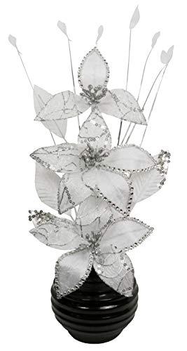 Flourish Blanco Flores Artificiales Negro Jarrón
