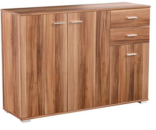 CSSchmal Sideboard mit 3 Türen 2 Schubladen Nussbaum Highboard Kommode Standschrank Mehrzweckschrank Anrichte Typ 100