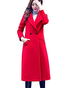 Womens Cardigan Sonnena Womens de moda otoño invierno abrigo largo de lana Overcoat Parka Outwear chaqueta negro...