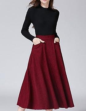 Mujer Faldas,Línea A Un ColorSencillo Tiro Medio Casual/Diario Midi Cremallera Poliéster Micro-elástica Otoño...