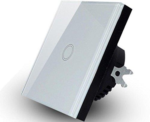 110V-240V Touchscreen Wasserdichte Lichtschalter 1Gang 1Way Glas Touchscreen Wandschalter (Lichtschalter Dimmer Installieren)