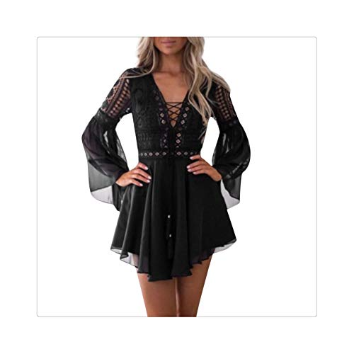 PLOPYSE& Dress Women Lace Long Sleeve Bodycon Cocktail Party Bandage Casual Noble Valuable Novel Women Dress Summer Black XL