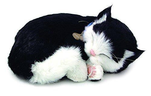 Gato de peluche con movimiento, raza black & white shorair de color negro y blanco y cuyas dimensiones son 23 x 19 x 10 centímetros