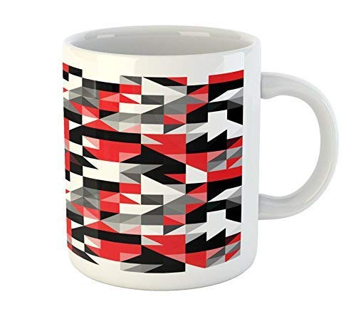 Red and Black Mug Abstract Geometric Half Triangles Squares Maze Inspired Image Printed Ceramic Coffee Mug Water Tea Drinks Cup -