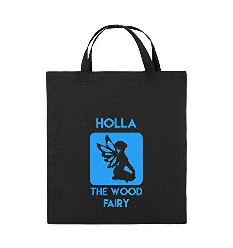 Comedy Bags - HOLLA THE WOOD FAIRY - Jutebeutel - kurze Henkel - 38x42cm - Farbe: Schwarz / Weiss Schwarz / Blau