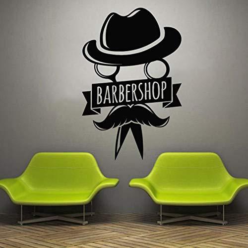 Barbershop Wandtattoo Beauty Friseursalon Fenster Vinyl Aufkleber Männlicher Mann Frisur Stil Haar Bart Barbershop Decorati 57x87cm