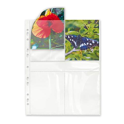 mashpaper Fotohüllen weiß 100 Stück 9x13 cm Hochformat für 2x4 Fotos 75604