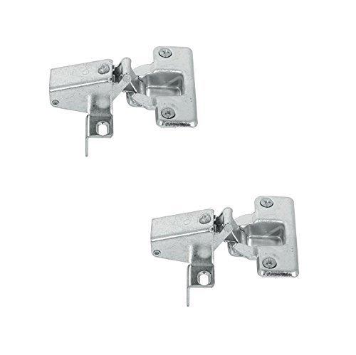2 Stück - GedoTec® Caravanscharnier Stollen-Scharnier 95° Kurzarm-Scharnier zum Schrauben | Möbelscharnier mit gewinkelter Montageplatte | Topfband für Stollenanschlag | Topfscharnier Stahl vernickelt | Markenqualität für Ihren Wohnbereich