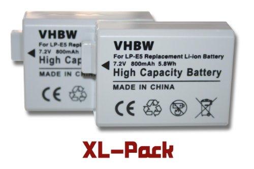2 x Li-Ion Akku 800mAh (7.4V) passend für Kamera Canon EOS 450D, 500D, 1000D und Digital Rebel XSi, u.a. Ersetzt den Akkutyp: LP-E5. (Eos Digital Rebel Xsi)