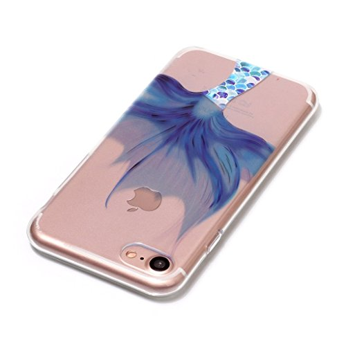 Custodia iPhone 7 Plus ,JIENI Trasparente Cover Moda Colorato pizzo albero foglia Flessibile TPU Silicone Bumper Case per Apple iPhone 7 Plus HX51