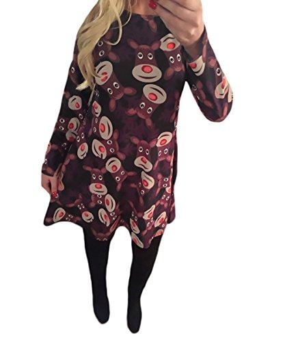 Vestiti Donna Eleganti Da Cerimonia Da Sera Festa Partito Abito Vintage Natale Stampa Pattern Rotondo Collo Manica Lunga Tubino Linea Ad A Corti Camicia Vestito Vestitini nero1