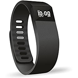 MOBIZU TW64 Bluetooth Smart OLED Sports Bracelet Wrist band Watch Support Pedometer / Call Reminder / Clock / Remote camera / Anti-lost Function, with Cell Phone Fitness Tracker Sleep Monitoring Calorie Calculation Distance Measurement Call Reminder Compatible with iOS and Android System (Black) (Micro USB Charging Pin)