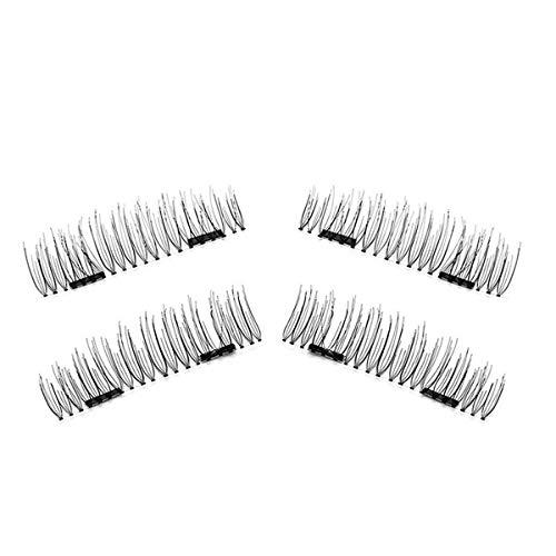 TOOGOO 1 paire/4pcs Faux cils magnetiques a double aimant 3D longs naturels Extension de cils doux de maquillage de yeux Outils de maquillage 52HB-S