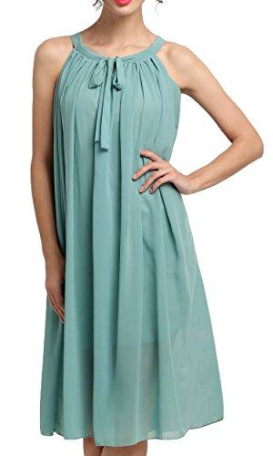 CRAVOG Damen Abendkleid Cocktailkleid Chiffon Ärmellos Plissee Kleid Strandkleid Sommerkleid Grün
