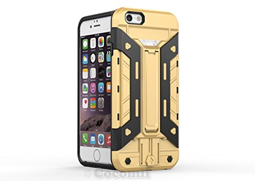iPhone 6S / iPhone 6 Coque, Cocomii Cyborg Armor NEW [Heavy Duty] Premium Built-in Multi Card Holder Kickstand Shockproof Hard Bumper Shell [Military Defender] Full Body Dual Layer Rugged Cover Case É Gold