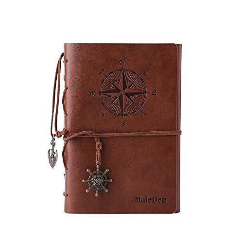 Maleden, diario di viaggio in pelle ad anelli, motivo bussola e ciondolo sul retro Brown